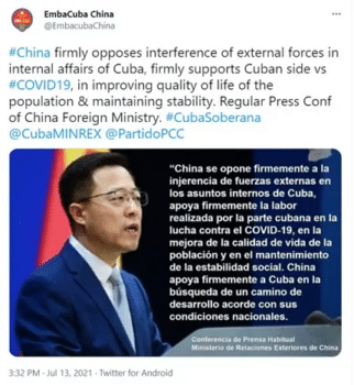 | Tweet by the Chinese embassy in Havana condemning unilateral US sanctions against Cuba | MR Online