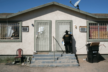 | Maricopa County Constable Darlene Martinez knocks on a door before posting an eviction order on Oct 1 2020 in Phoenix Photo John MooreGetty Images | MR Online