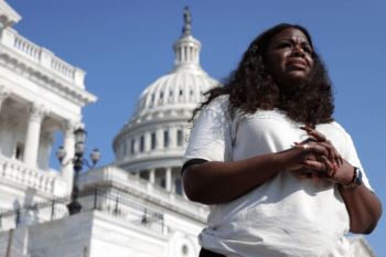 | Rep Cori Bush DMo speaks to a reporter outside the US Capitol Aug 2 2021 in Washington DC | MR Online