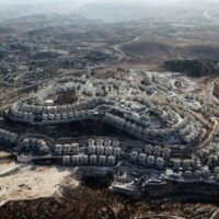 An aerial view of the Israeli settlement of Tekoa in the occupied West Bank.