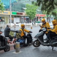 Meituan delivery drivers in Beijing.