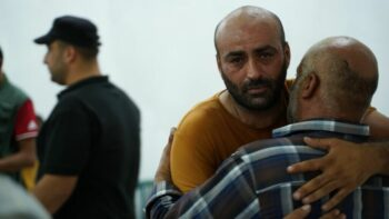 | MOAYYAD ALALAMI GREETS MOURNERS AT HIS SONS WAKE HIS 11YEAROLD SON MOHAMMED WAS SHOT AND KILLED BY ISRAELI FORCES WHILE THE FAMILY WERE IN THEIR CAR ON THE WAY HOME FROM GROCERY SHOPPING IN THEIR TOWN OF BEIT UMMAR JULY 29TH 2021 | MR Online