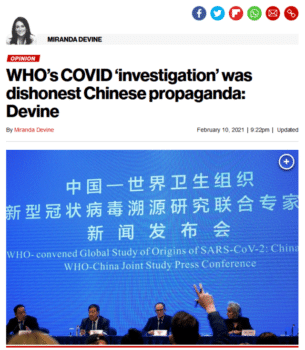 | The New York Posts Miranda Devine 21021 responded to WHOs finding that a lab leak was extremely unlikely | MR Online