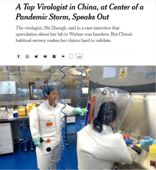 | The New York Times 61421 casts doubt on the assurances of Dr Shi Zhengli | MR Online