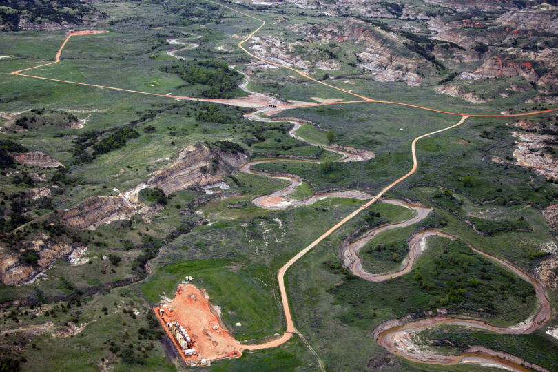 | Oil pad access roads crossing Bennet Creek three miles south of the North Unit of Theodore Roosevelt National Park | MR Online