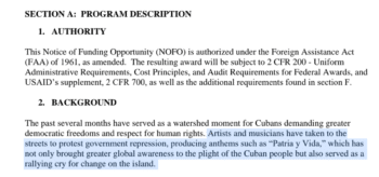 | A June 2021 USAID appeal for grant proposals in Cuba singles out Patria y Vida as a major propaganda victory | MR Online