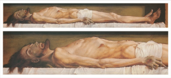   Hans Holbein the Younger The Body of the Dead Christ in the Tomb and a detail 152122 Oil on panel   MR Online