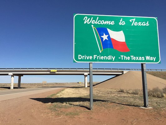   Welcome sign along eastbound Interstate 40 entering Deaf Smith County Texas from Quay County New Mexico   MR Online