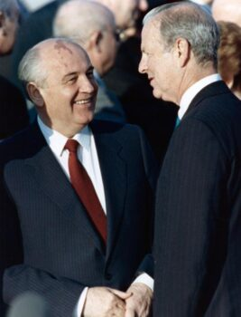 | James A Baker with Mikhail Gorbachev in 1990 in Moscow | MR Online