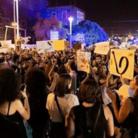 Members of the Tal'at movement protest in Haifa, 2019.