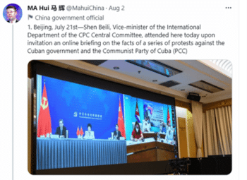 | Chinas Ambassador to Cuba tweets on Chinas position on events in Cuba | MR Online