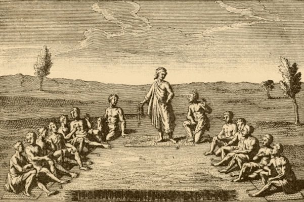 Leaders from five Iroquois nations (Cayuga, Mohawk, Oneida, Onondaga, and Seneca) assembled around Dekanawidah c. 1570, French engraving, early 18th century.