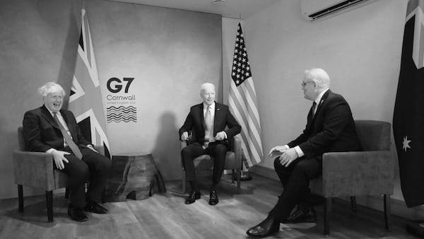 MR Online | US President Joe Biden UK PM Boris Johnson and Australias high commissioner to the UK George Brandis had met during the G7 meeting in Cornwall in June The AUKUS which was announced on September 15 was deemed a forever partnership by Brandis | MR Online