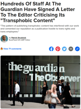   Guardian staff circulated a letter critical of the papers trans coverage after the resignation of a transgender member of staff who said theyd received antitrans comments from influential editorial staff BuzzFeed 3620   MR Online