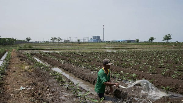   A farmer is watering crops in the vicinity of the Indramayu 1 power plant in West Java financed by a consortium of Chinese and Indonesian banks In recent years local pollution and climate concerns have driven up Chinese overseas investment in renewables Image Adi Renaldi China Dialogue   MR Online