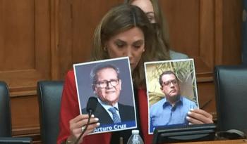 | Farright Florida Congresswoman María Elvira Salazar holding up photos of USfunded coup leaders Felix Maradiaga and Arturo Cruz at a hearing on Nicaragua | MR Online