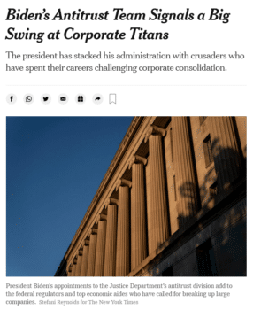 | The New York Times 72421 highlights the Biden administrations growing concern that the concentration of power in technologyhas hurt consumers and workers and stunted economic growth | MR Online