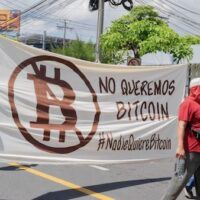 Hundreds of Salvadorans took to the streets of El Salvador's capital on September 7, to protest the adoption of Bitcoin as national currency. Photo: Jaime Guevara