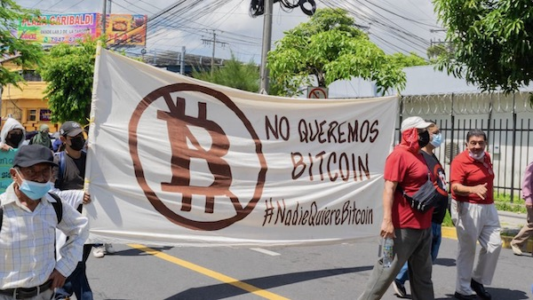 | Hundreds of Salvadorans took to the streets of El Salvadors capital on September 7 to protest the adoption of Bitcoin as national currency Photo Jaime Guevara | MR Online