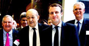 | JeanYves Le Drian second from left and Emmanuel Macron second from right in 2015 | MR Online