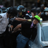 A legal observer from the National Lawyers Guild is arrested in the Mott Haven neighborhood of New York City on June 4, 2020. Photo: C.S. Mundy