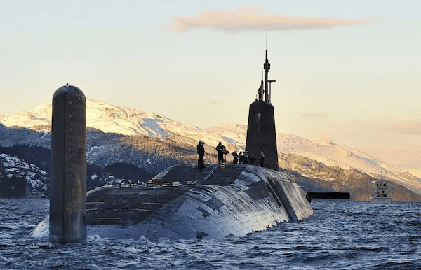 MR Online | UK nuclear submarine HMS Vanguard arrives back at HM Naval Base Clyde Faslane Scotland following a patrol | MR Online