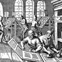 A 16th Century printing press. Commonwealth views were widely disseminated in books, pamphlets and broadsides.