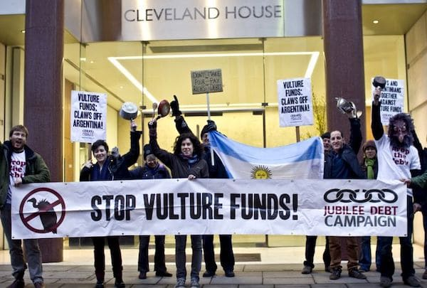 MR Online | Debt campaigners protest the impact of vulture funds on Argentina outside the office of Elliott Advisors owners of NML Capital in New York in February 2013 | MR Online