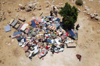 | An aerial photo of the demolition of the Khirbet Humsa community in the Jordan Valley occupied West Bank July 8 2021 Oren Ziv | MR Online