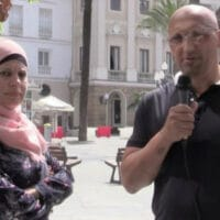 Activist and lawyer Dimitri Lascaris interviewing Palestinian activist, Manal Tamimi in June, 2018, in Spain.