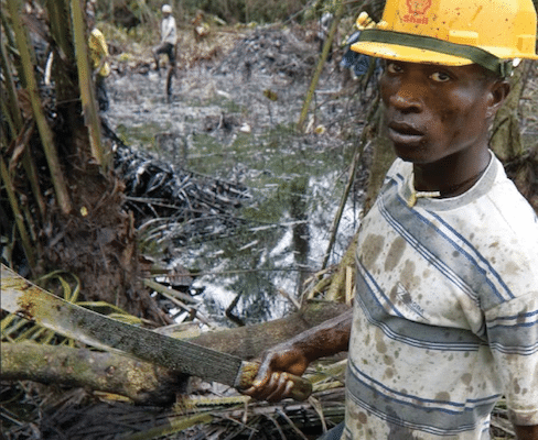 | The photo shows an oil spill from an abandoned Shell Petroleum Development Company in Olobiri Niger Delta Ed Kashi 2004 The image is taken from the cover of Wengrafs book | MR Online