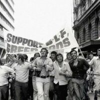 Supporters of the BLF green bans march in Sydney in the early 1970s