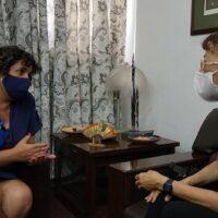 COVID Vaccines Coordinator Dr. Miladys Limonta Fernández speaks with Gloria La Riva